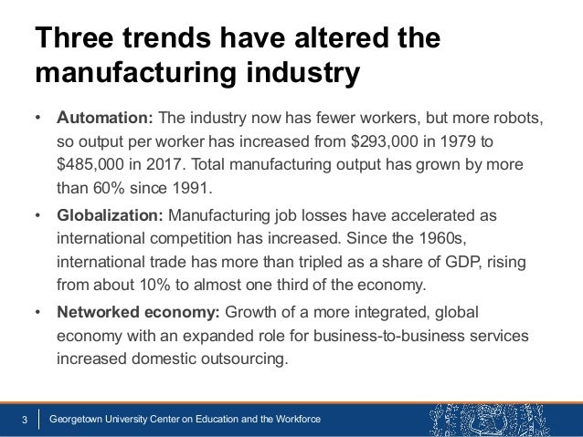 Three trends have altered the manufacturing industry • Automation: The industry now has fewer workers, but more robots, so...