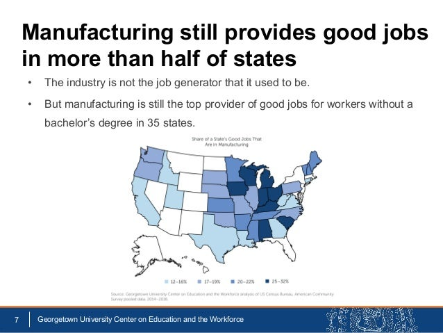 • The industry is not the job generator that it used to be. • But manufacturing is still the top provider of good jobs for...