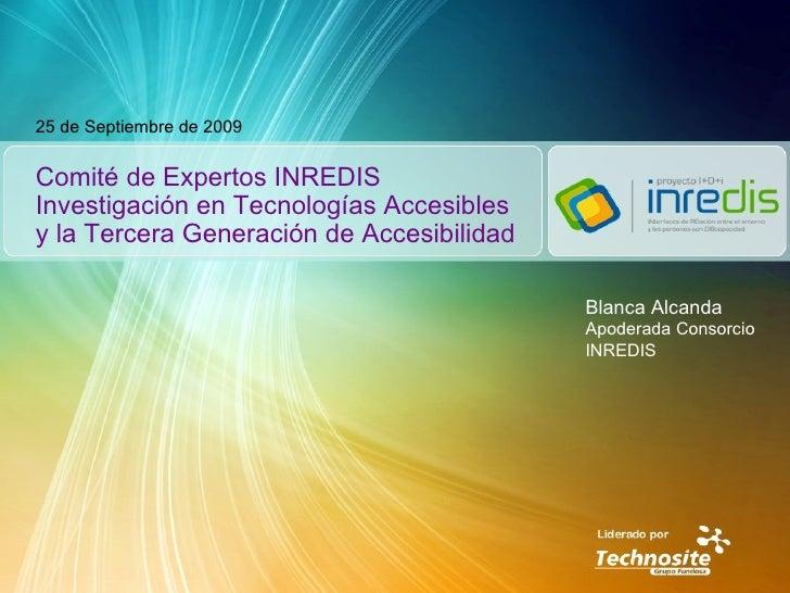 Comité de Expertos INREDIS Investigación en Tecnologías Accesibles y la Tercera Generación de Accesibilidad 25 de Septiemb...