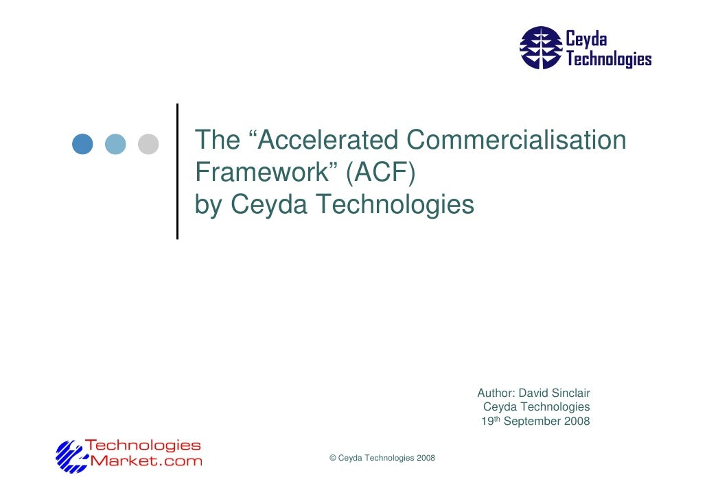 "The ""Accelerated Commercialisation Framework"" (ACF) by Ceyda Technologies                                           Author..."