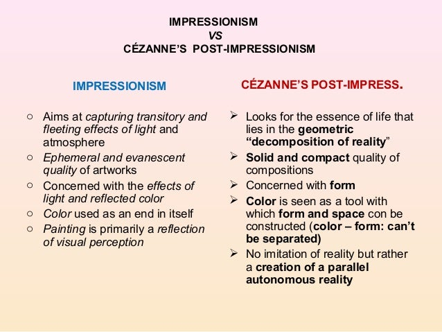 a comparison of post impressionists and expressionists ideas Writing about impressionism, about two impressionists and discussing their work  post impressionism  ideas and feedback to.