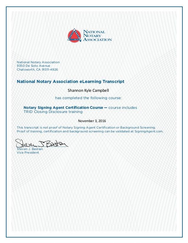 Nsa Training Certificate