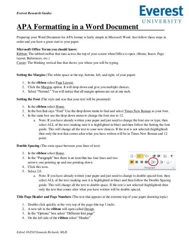 apa formatting in a word document