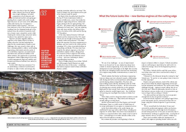 """36 ENGINEERS AUSTRALIA MARCH 2015 37 ENGINEERS AUSTRALIA MARCH 2015 COVER STORY QANTAS ENGINEERING """"It's one of our chall..."""