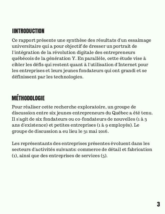 rapport synthèse de l'intégration de la révolution digitale par les entrepreneurs québécois de la génération Y Slide 3
