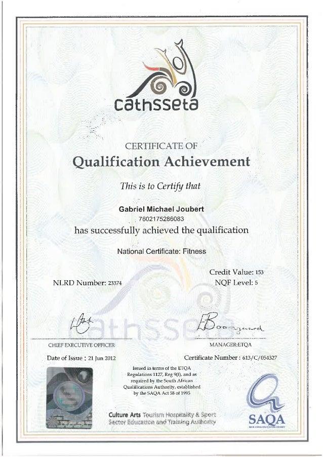 Cathsseta Fitness National Certificate