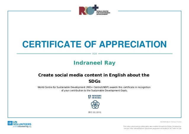 Certificate of appreciation for indraneel ray from riocentreundp certificate of appreciation indraneel ray create social media content in english about the sdgs world centre yadclub Images