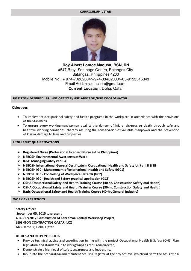 Roy Albert Macuha Cv Pdf