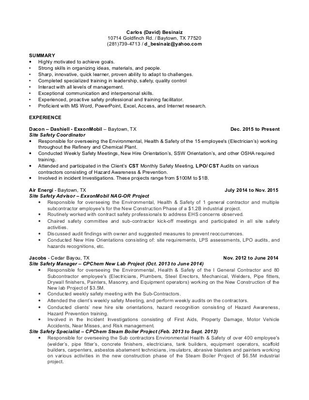 Carlos David Besinaiz Safety Professional Resume