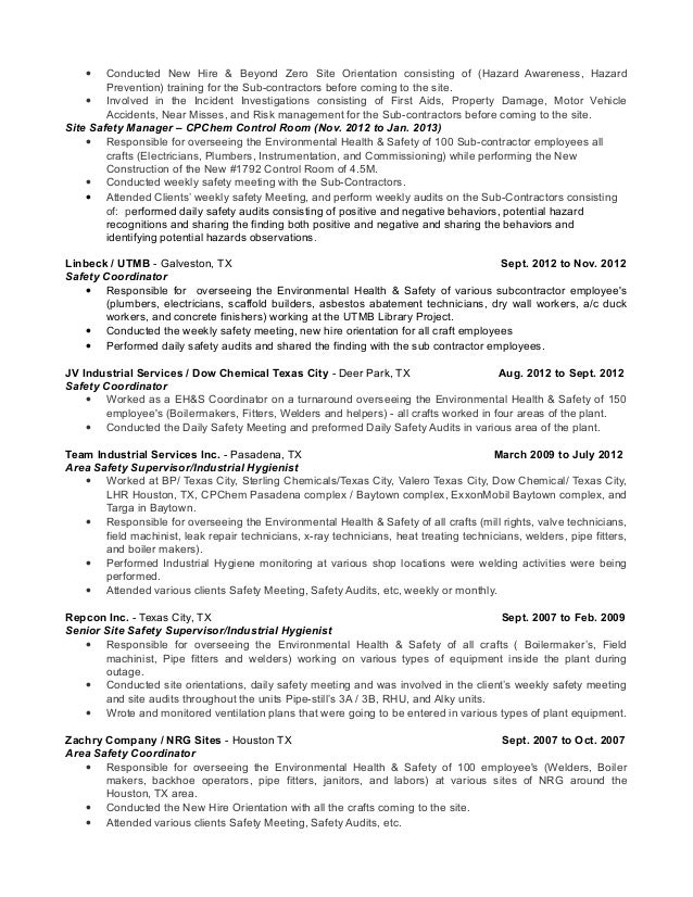 2 - Safety Professional Resume