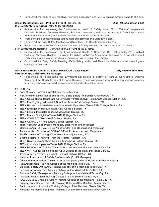 4 - Safety Professional Resume