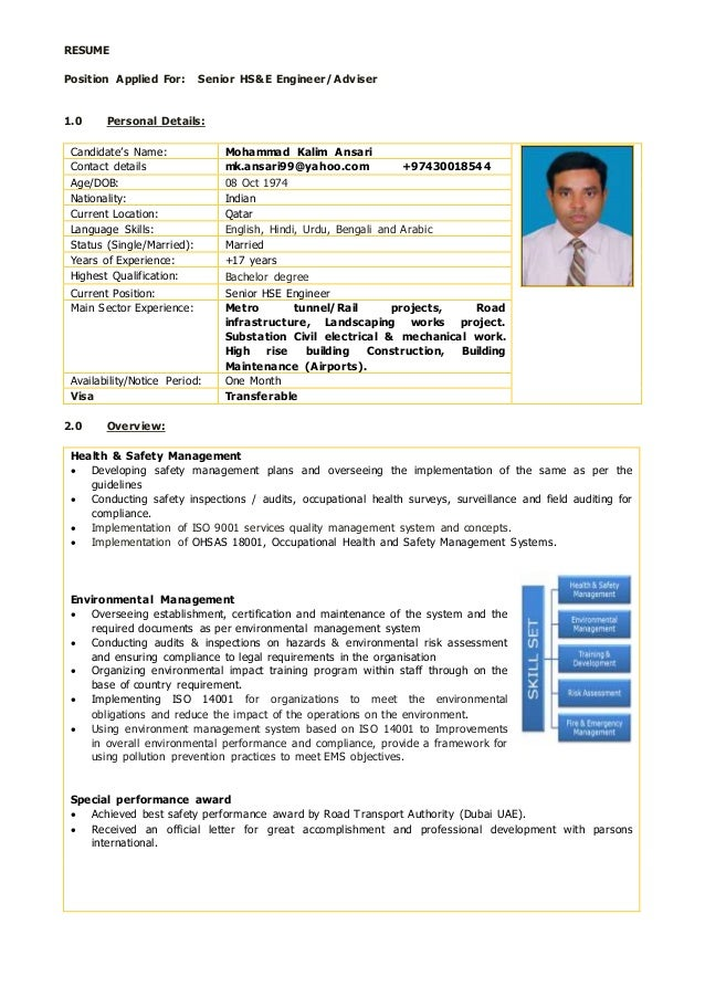 senior hse engineer with 17 years experiences