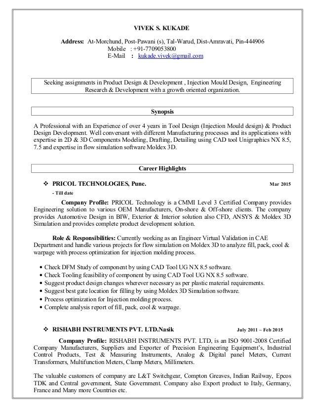 RESUME VIVEK KUKADE__Tool U0026 Product Design. VIVEK S. KUKADE Address:  At Morchund, Post Pawani (s) ...  Product Designer Resume