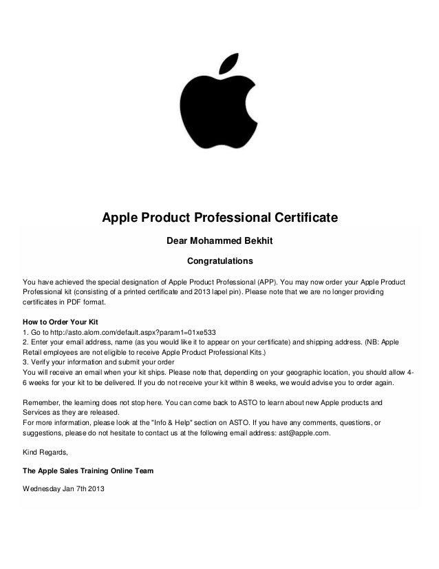 Asto App Certificate 2015