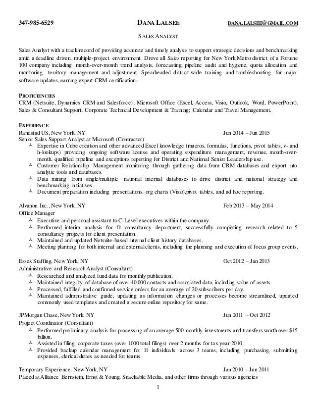 Dana Lalsees Resume Sales Analyst