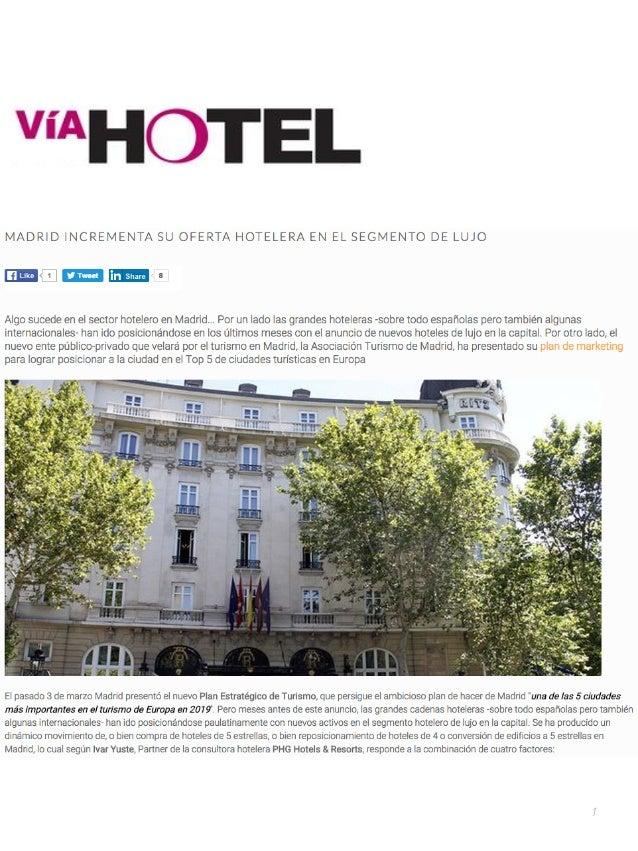 V a hotel madrid incrementa su oferta hotelera en el for Hoteles de lujo en espana ofertas