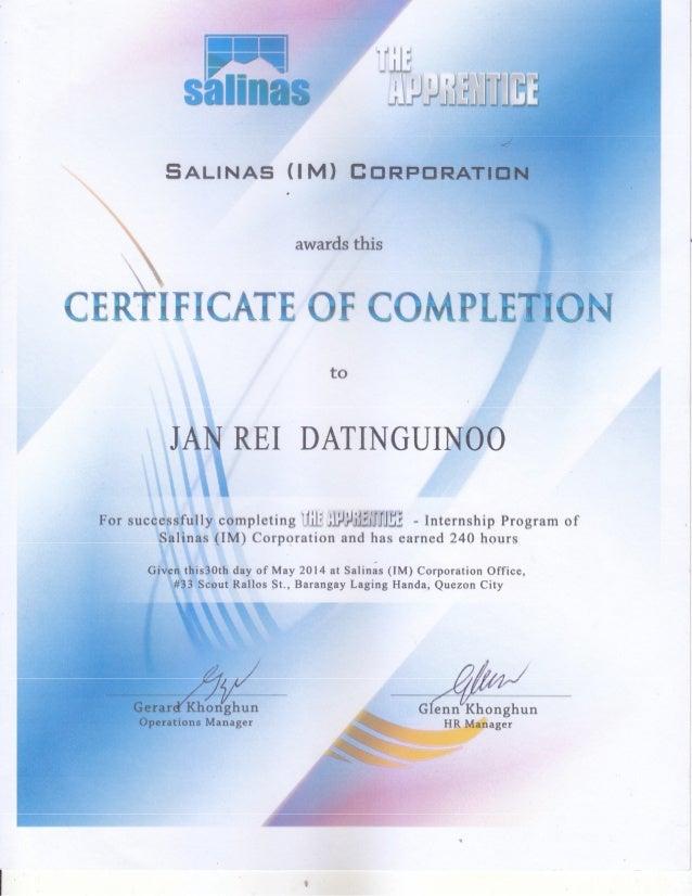 Sample Ojt Certificate Of Completion Engneforic