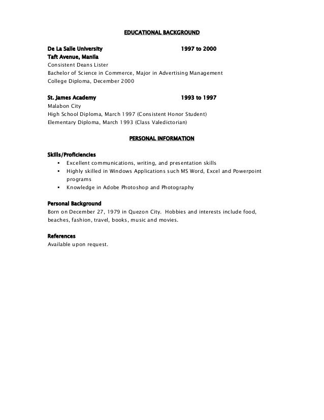 Resume For activity resume null Resume Examples For College     SlideShare