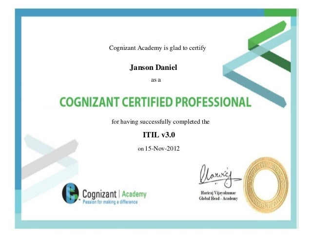 Cognizant Certified Professional Itil V3ocess Spacellow Belt