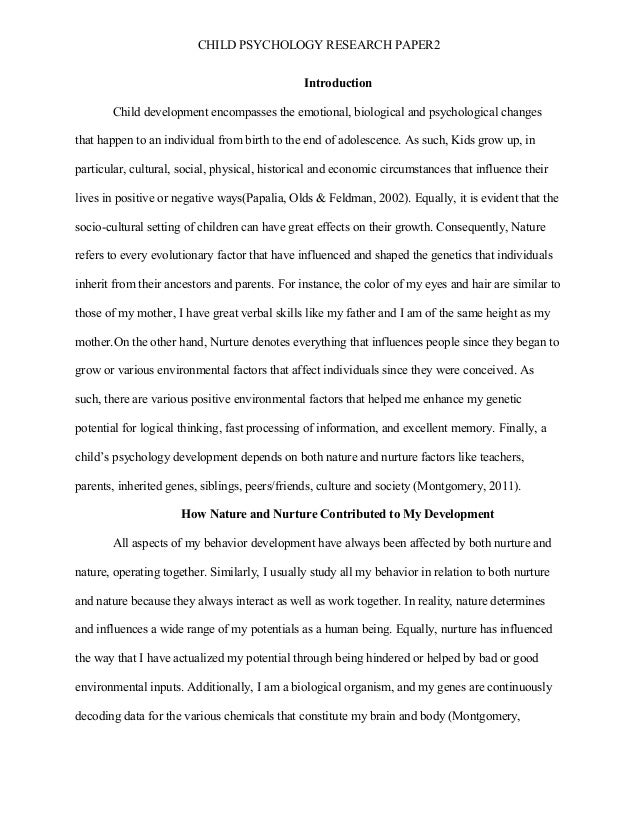 child development paper research Write my child development research paper - essay about child development: toddlers observation.
