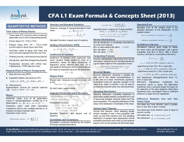 Cfa l1 exam formula & concepts sheet 2013