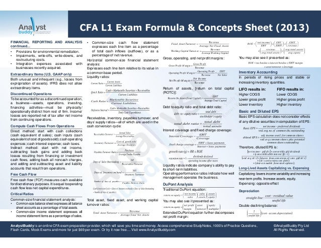 2006 cfa l1 summary level formulas Sam is our first cfa exam blogger he was born and raised in illinois, now working in new york city he took the cfa level 1 exam in june i'm still in the resting mode these days.