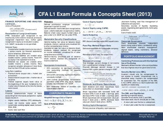 Cfa l1 exam formula & concepts sheet 2013