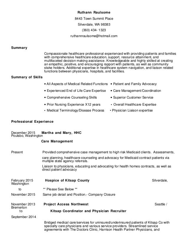 Resume, General Healthcare