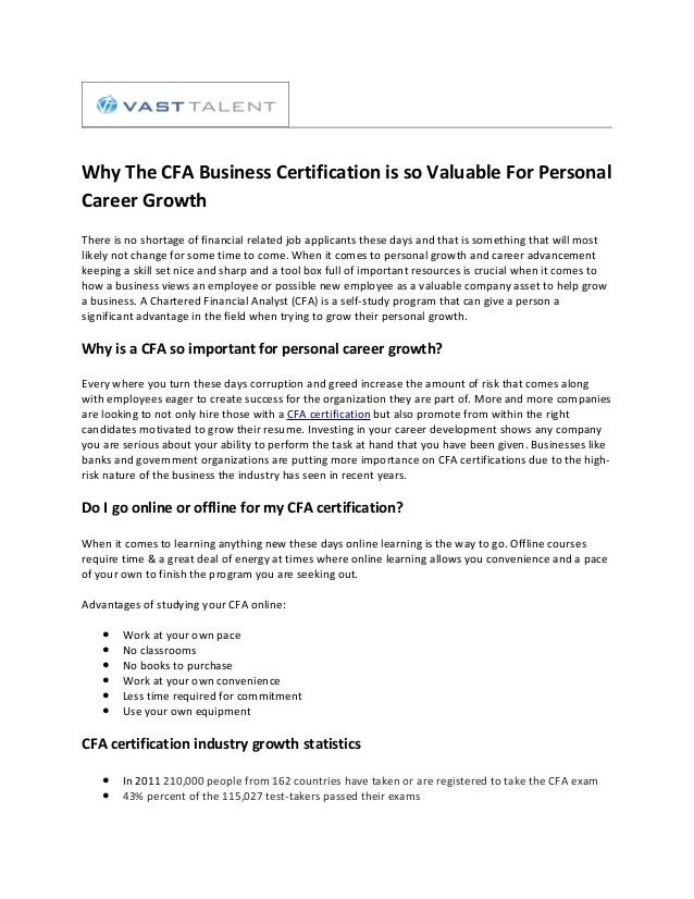 Why The Cfa Business Certification Is So Valuable For Personal Career