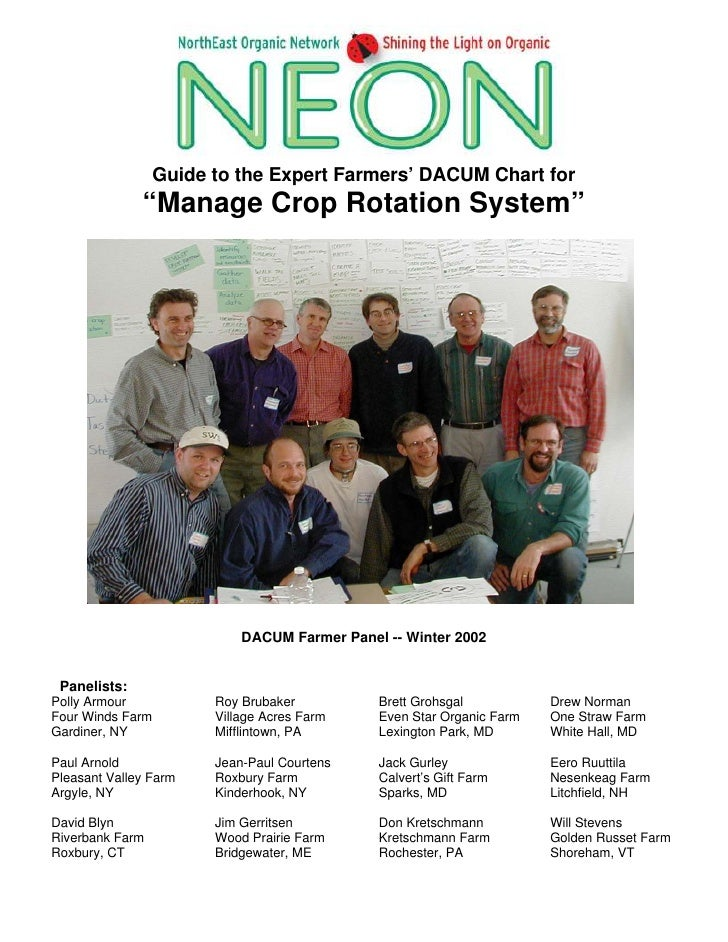 """Guide to the Expert Farmers' DACUM Chart for               """"Manage Crop Rotation System""""                                 D..."""