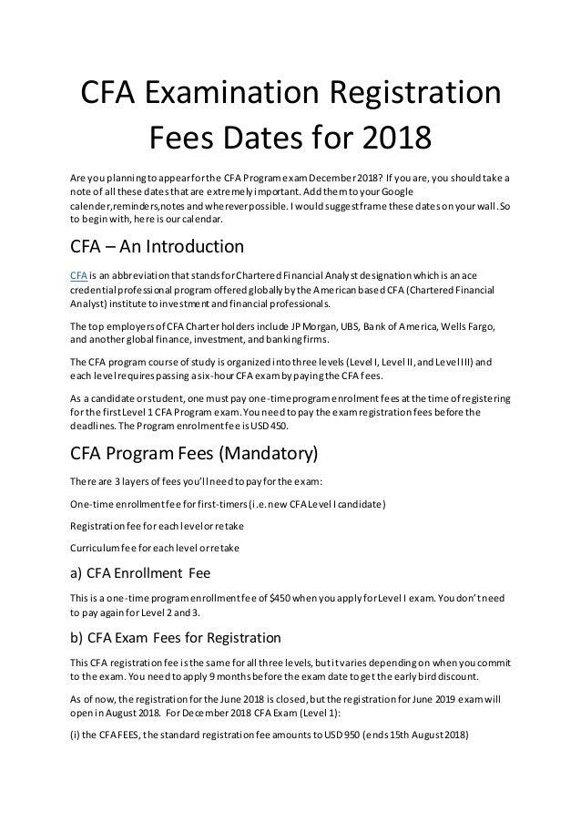 Cfa examination registration fees dates for 2018