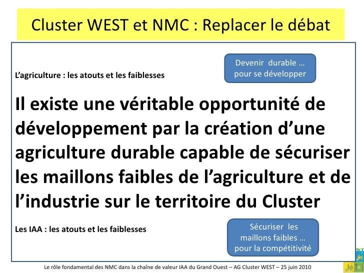 Cluster WEST et NMC : Replacer le débat<br />L'agriculture : les atouts<br /><ul><li> € 15 Mrds de production