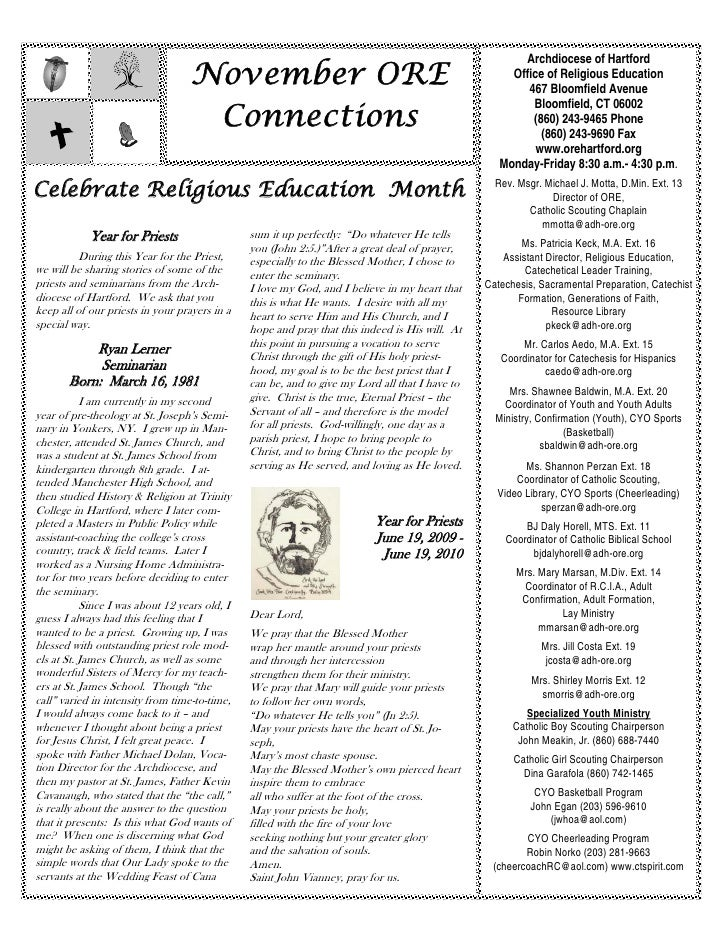 Archdiocese of Hartford                                   November ORE                                                    ...