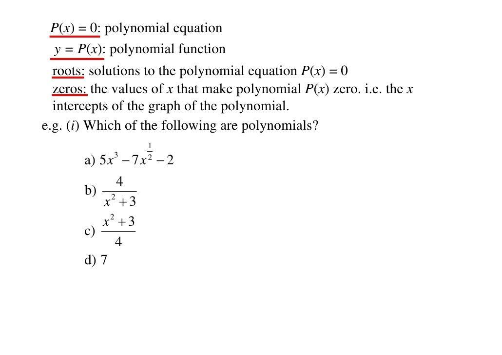 polynomial degree chart