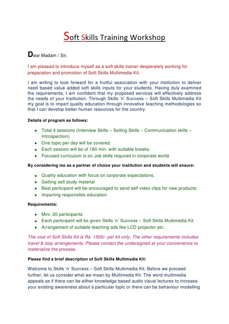 Training Proposal Letter Soft Skills Training Workshopbr Dear Madam