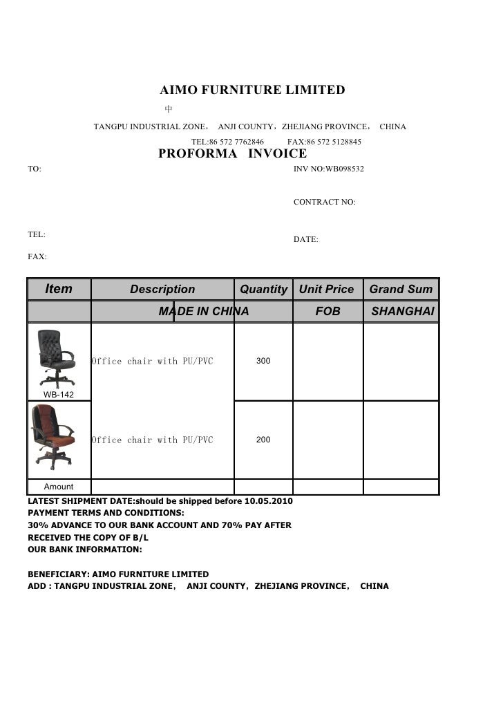 Proforma invoice from aimo furniture limited Home furniture quotation template