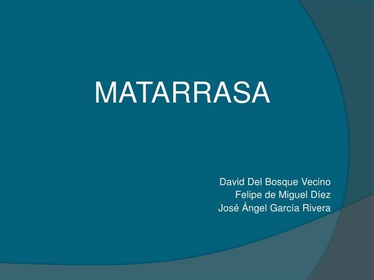 MATARRASA<br />David Del Bosque Vecino<br />Felipe de Miguel Díez<br />José Ángel García Rivera <br />