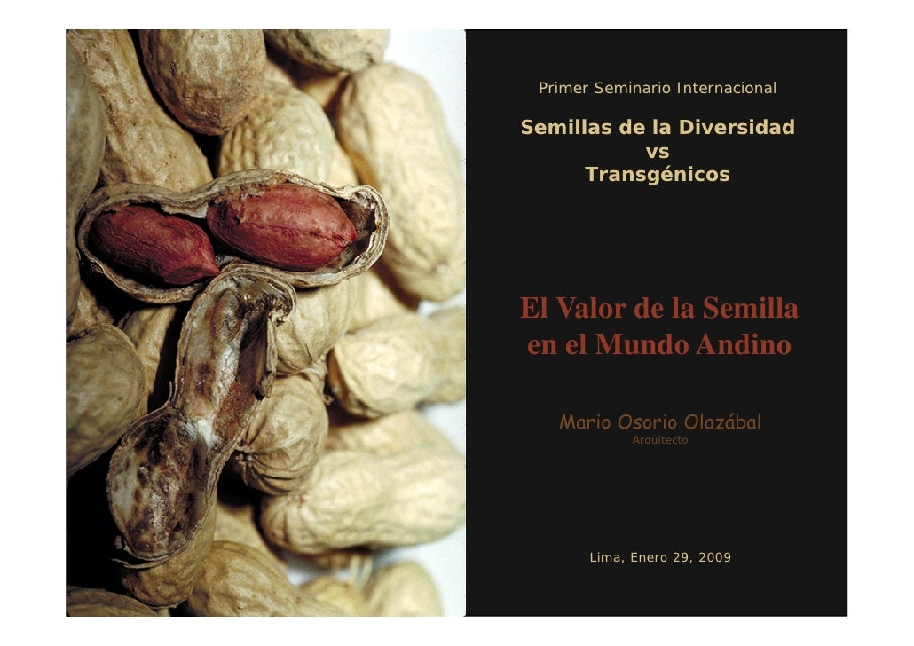 Primer Seminario Internacional  Semillas de la Diversidad            vs       Transgénicos     El Valor de la Semilla en e...