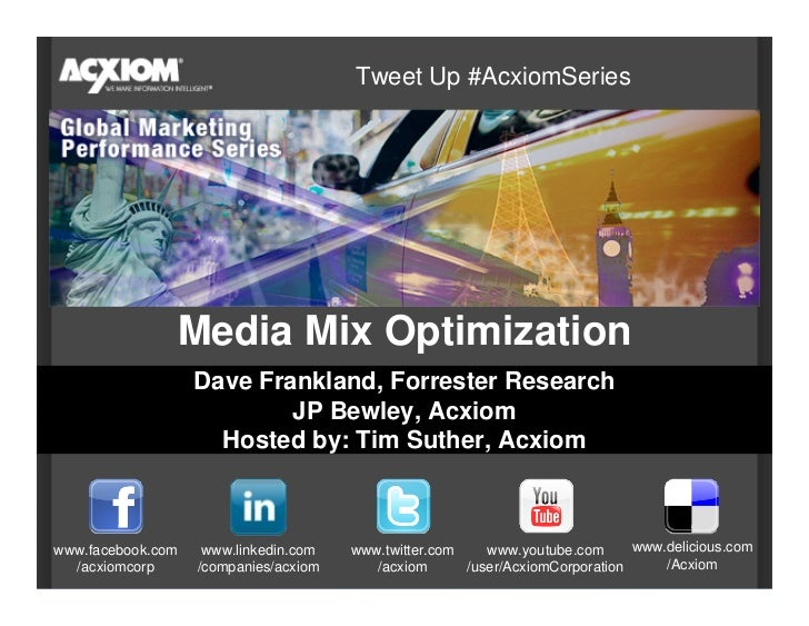 Tweet Up #AcxiomSeries                    Media Mix Optimization                    Dave Frankland, Forrester Research    ...