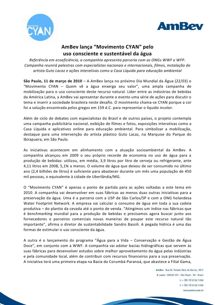 """AmBev lança """"Movimento CYAN"""" pelo                      uso consciente e sustentável da água   Referência em ecoeficiência,..."""