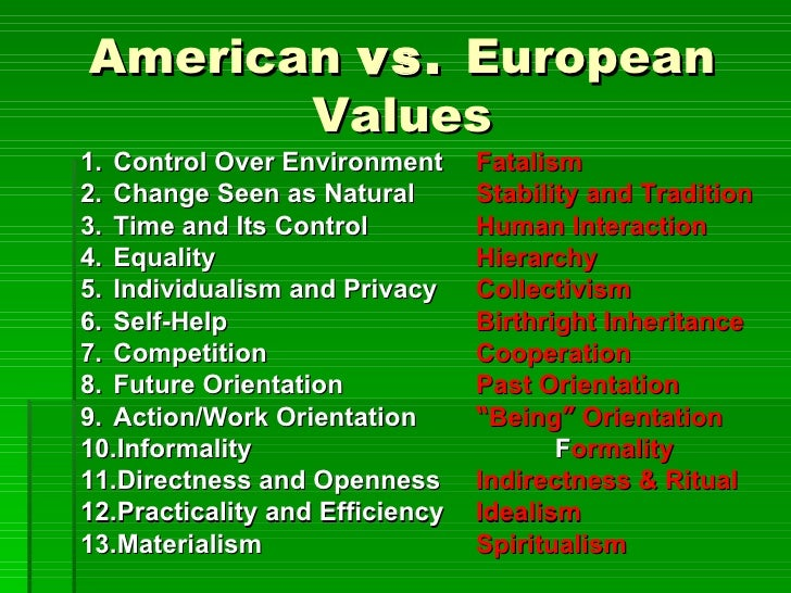 Similarities and Differences between American and European Values Essay