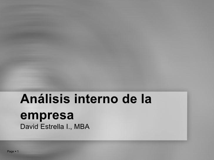 Análisis interno de la empresa David Estrella I., MBA