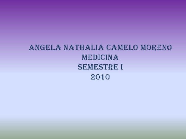 ANGELA NATHALIA CAMELO MORENO <br />MEDICINA <br />SEMESTRE I<br />2010<br />