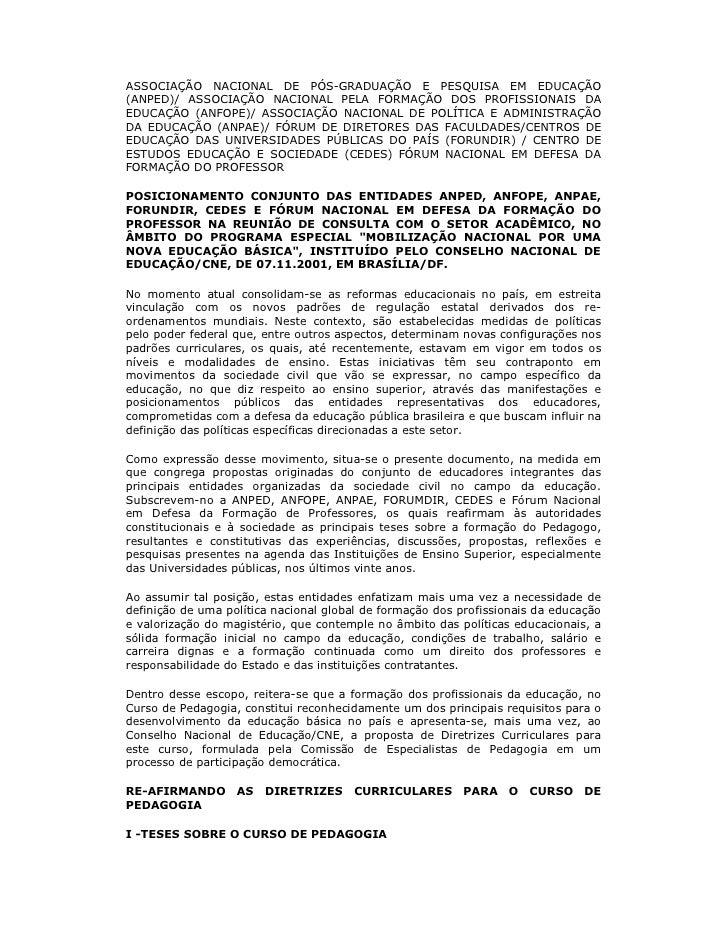 ASSOCIAÇÃO NACIONAL DE PÓS-GRADUAÇÃO E PESQUISA EM EDUCAÇÃO (ANPED)/ ASSOCIAÇÃO NACIONAL PELA FORMAÇÃO DOS PROFISSIONAIS D...