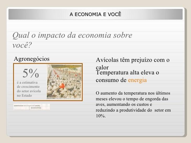 A ECONOMIA E VOCÊ Qual o impacto da economia sobre você? Temperatura alta eleva o consumo de  energia Avícolas têm prejuíz...