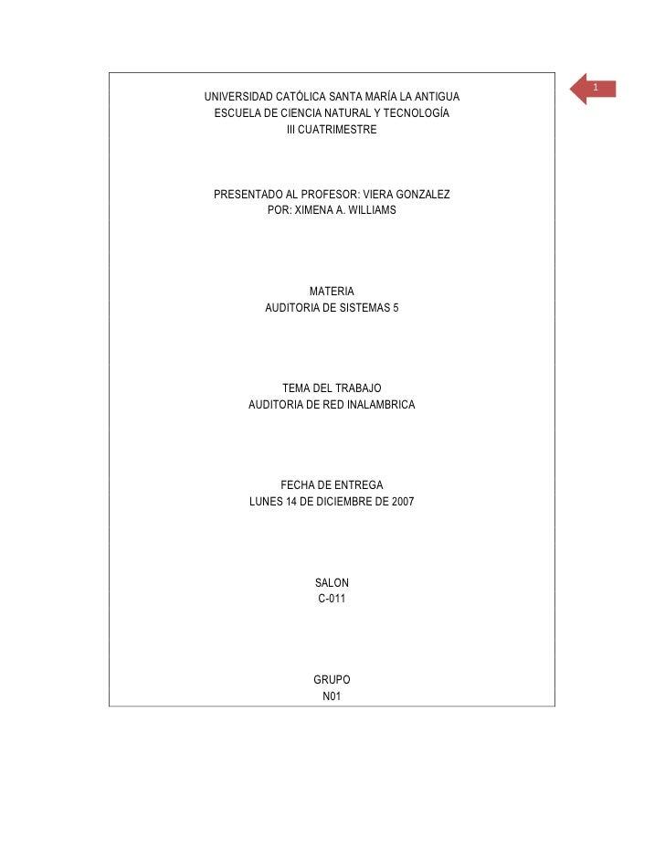 1 UNIVERSIDAD CATÓLICA SANTA MARÍA LA ANTIGUA  ESCUELA DE CIENCIA NATURAL Y TECNOLOGÍA               III CUATRIMESTRE     ...
