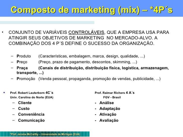 Composto de marketing (mix) – *4P´s <ul><li>CONJUNTO DE VARIÁVEIS  CONTROLÁVEIS , QUE A EMPRESA USA PARA ATINGIR SEUS OBJE...