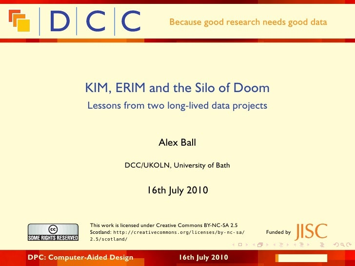 Because good research needs good data                   KIM, ERIM and the Silo of Doom               Lessons from two long...
