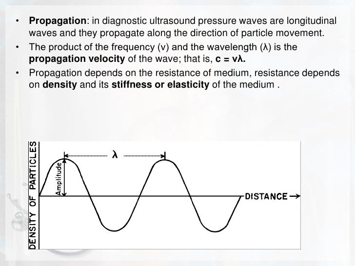 Propagation: in diagnostic ultrasound pressure waves are longitudinal waves and they propagate along the direction of part...