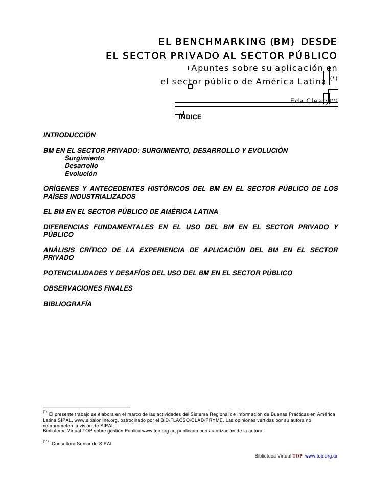 EL BENCHMARKING (BM) DESDE                              EL SECTOR PRIVADO AL SECTOR PÚBLICO                               ...